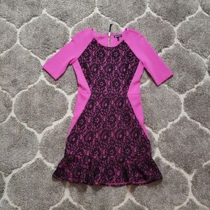Juicy Couture Pink Black Lace Mini Dress 2